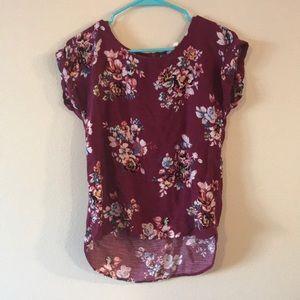 Pink republic high low floral shirt